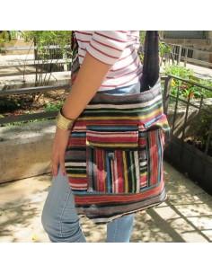 Sac bandoulière en coton multicolor