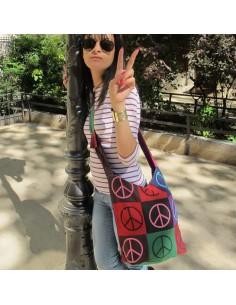 "Sac tissu motifs ""peace and love"""