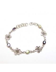Bracelet argent et pierres taillées