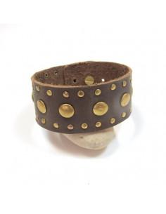 Bracelet large cuir marron