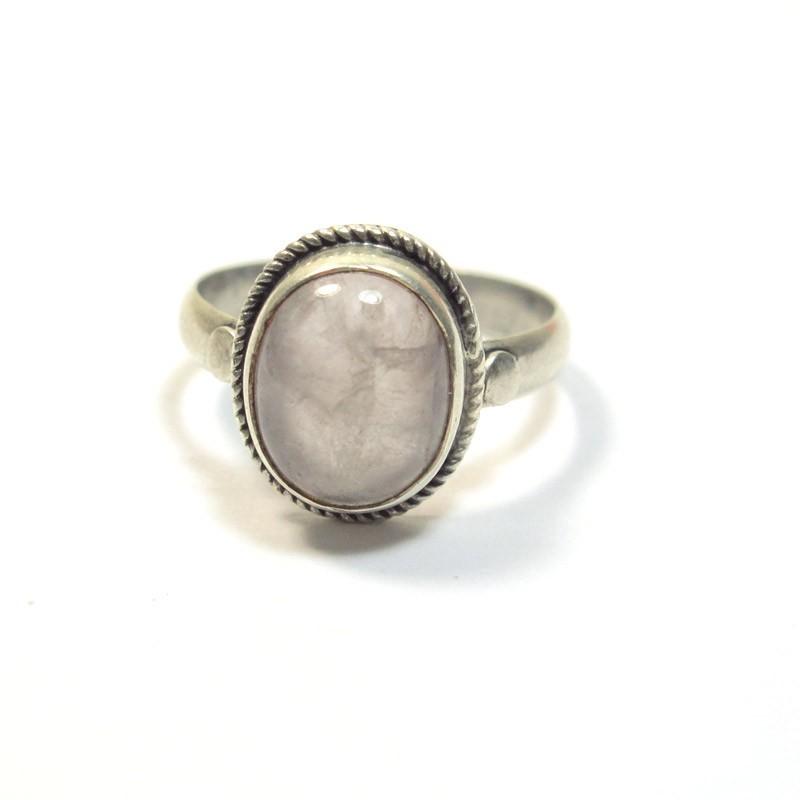 Bijoux Argent Quartz Rose : Bague argent et quartz rose bijoux de jaipur b