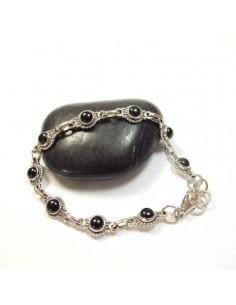 bracelet argent et pierres rondes onyx