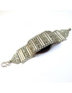 bracelet argent large à lamelles