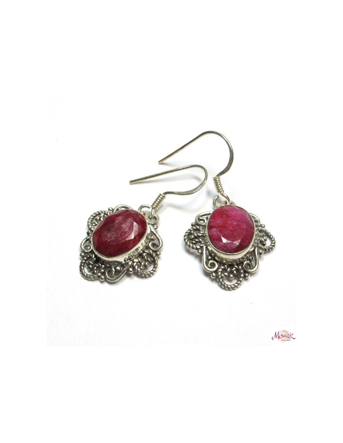 boucle d 39 oreille argent et rubis rose bijoux et boucles indiennes argent bp136. Black Bedroom Furniture Sets. Home Design Ideas