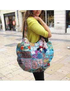 Gros sac tissu patchwork fleuri