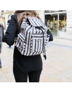 Grand sac dos blanc et noir