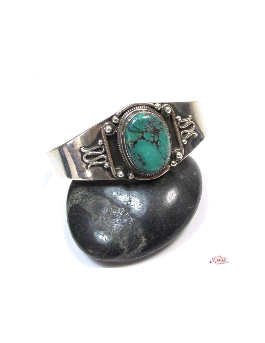 Bijoux Ethnique Argent Turquoise : Bracelet argent et turquoise bijoux ethniques br
