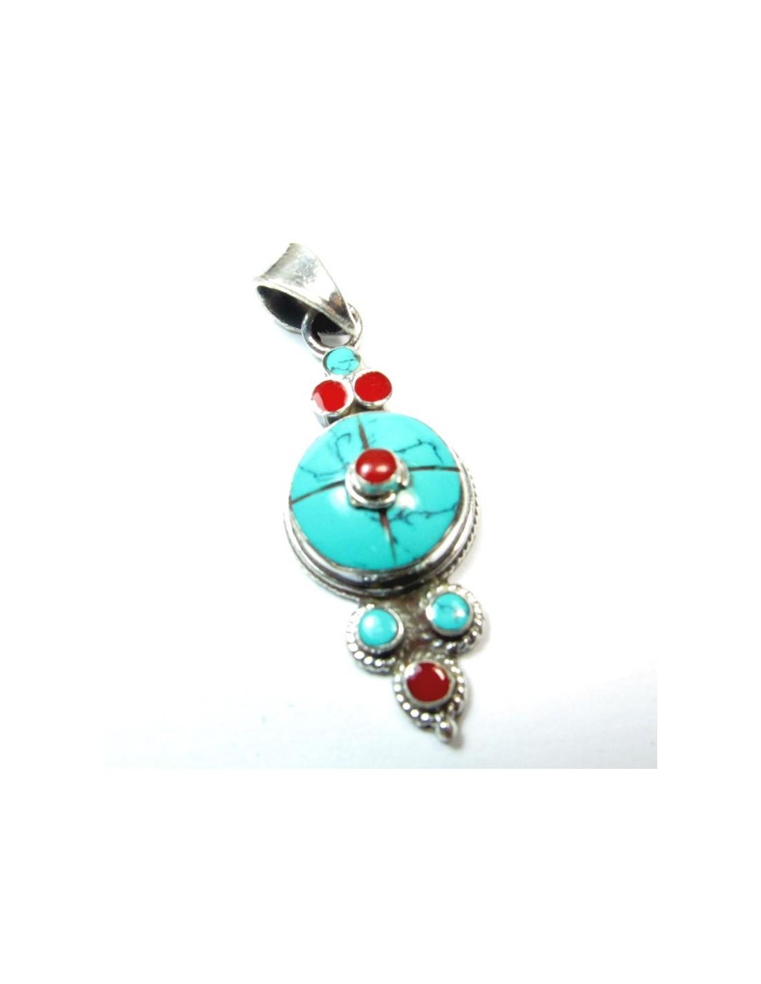 Bijoux Ethnique Argent Turquoise : Pendnentif argent et turquoise bijoux ethniques p