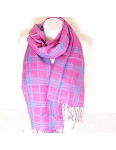 Foulard rose et turquoise à carrreaux