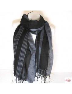 Foulard tissé noir et gris