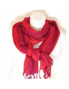 Foulard à bandes rouges et fushia