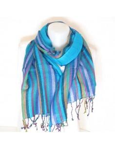 Foulard bleu à fines rayures