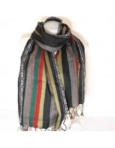 Foulard tissé à bandes colorées