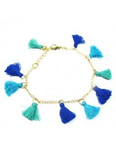 bracelet à pompons bleus et turquoises