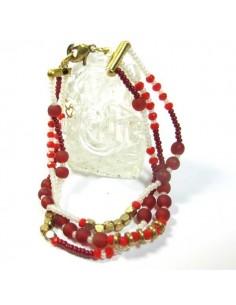 bracelet 3 rangs et perles rouges et blanches