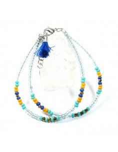 bracelet 2 rangs perles bleues et oranges