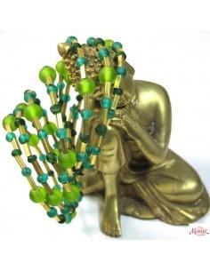 bracelet large pirale et perles vertes et dorées