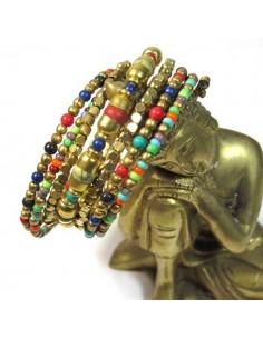 bracelet spirale en perles fines dorées et multicolores