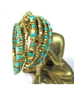 bracelet spirale à perles dorées et turquoises