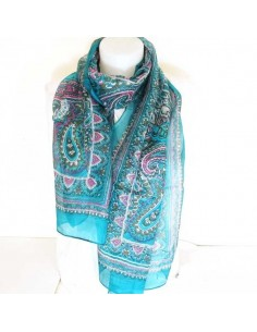 Foulard en soie turquoise à motifs