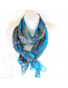 Foulard en soie turquoise à fleurs