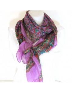 Foulard en soie violet à fleurs