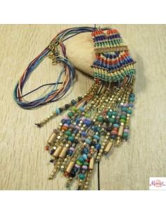 collier pendentif macramé vert et violet