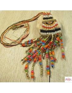 collier pendentif macramé orange et rouge