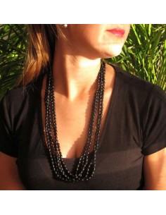 collier 5 rangs de perles noires