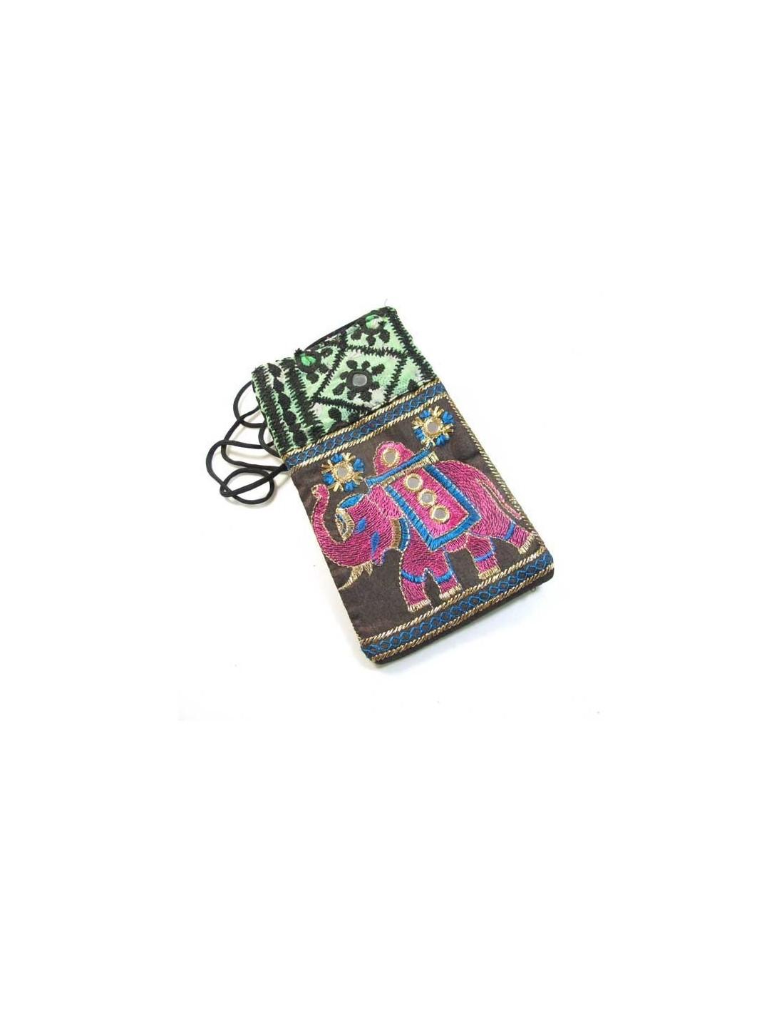 pochette brod e pour telephone portable pochettes indiennes color es po21. Black Bedroom Furniture Sets. Home Design Ideas