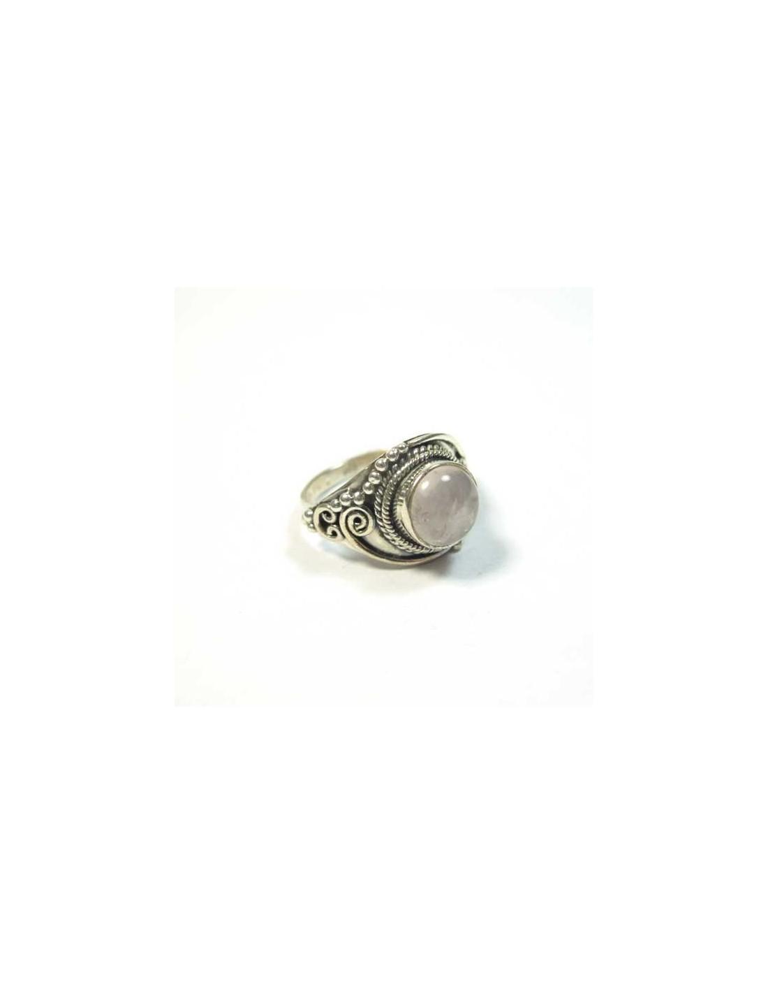 bague argent et quartz rose bijoux argent ethniques bp1038. Black Bedroom Furniture Sets. Home Design Ideas