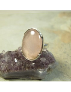 Bague argent et quartz rose T55