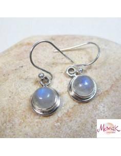 Boucles d'oreils argent et pierre de lune