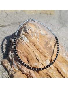 Chaine de cheville fine perles noires