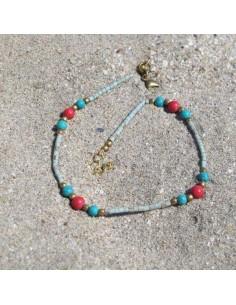Chaine de cheville turquoise et corail