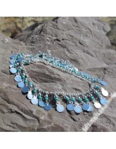 Chaine cheville métal argenté et perles turquoises