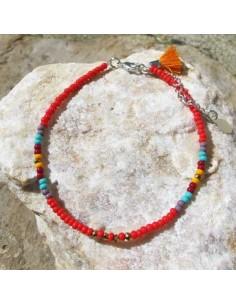 Chaine de cheville perles rouges