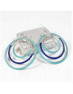 Boucles d'oreilles métal argenté et perles
