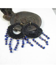 Boucles d'oreilles macramé perles bleues