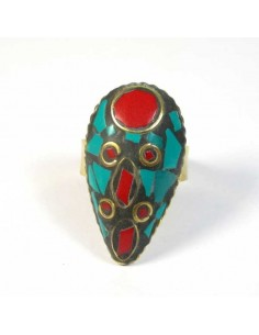 bague tibetaine rouge et turquoise