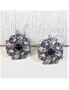 Boucles d'oreilles métal argenté pierre noire
