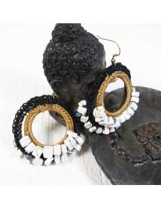 Boucles d'oreilles macramé blanches