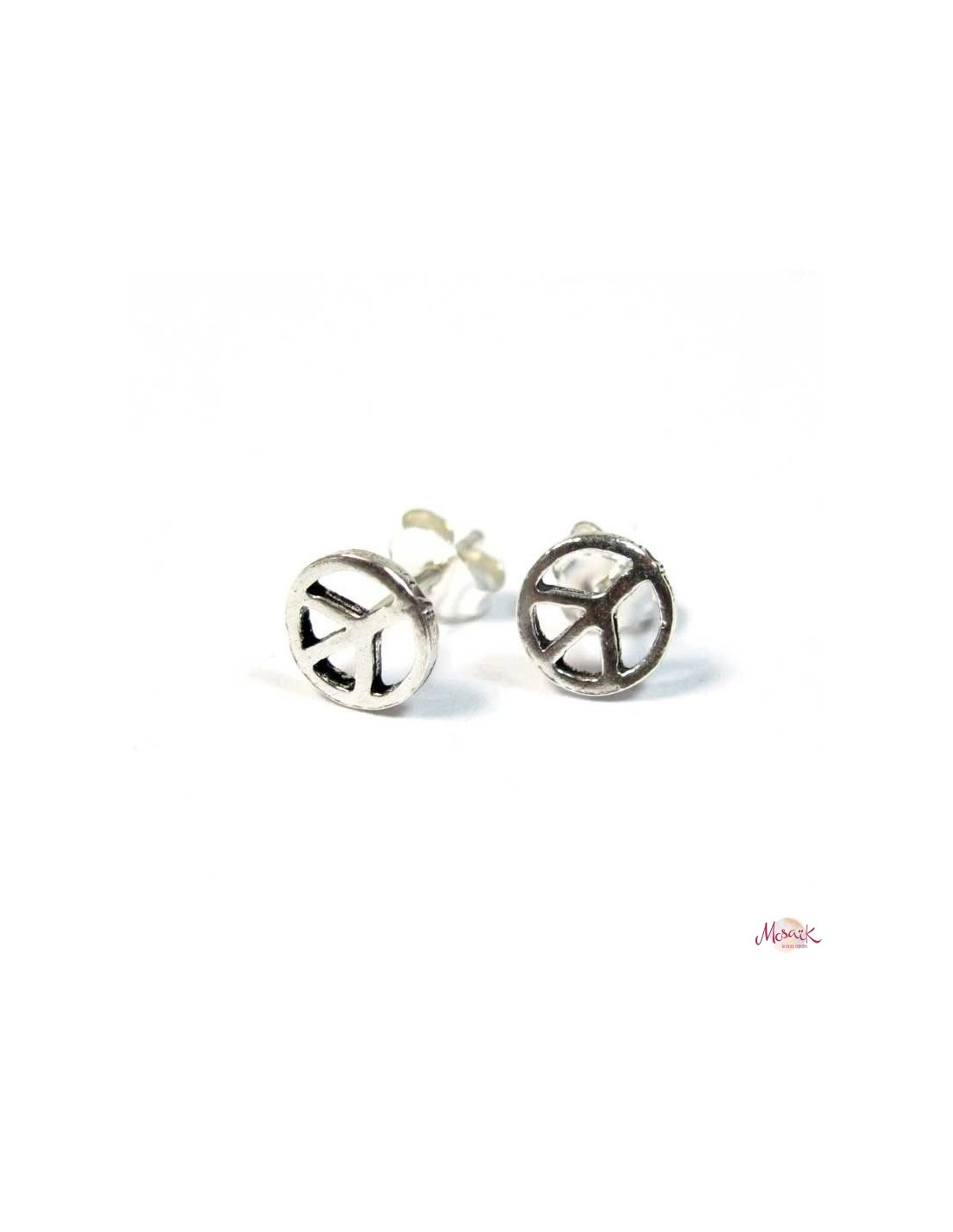 Clous d 39 oreilles argent peace and love peace and love co16 - Boucle d oreille peace and love ...