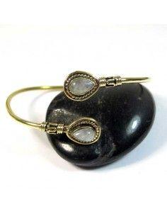 Bracelet jonc laiton et pierre de lune