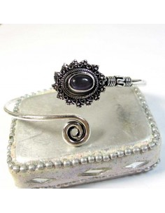 Bracelet métal argenté et améthyste