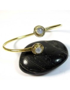 Bracelet laiton et 2 pierres de lune
