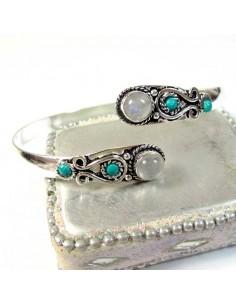 Jonc métal argenté pierre de lune et turquoise