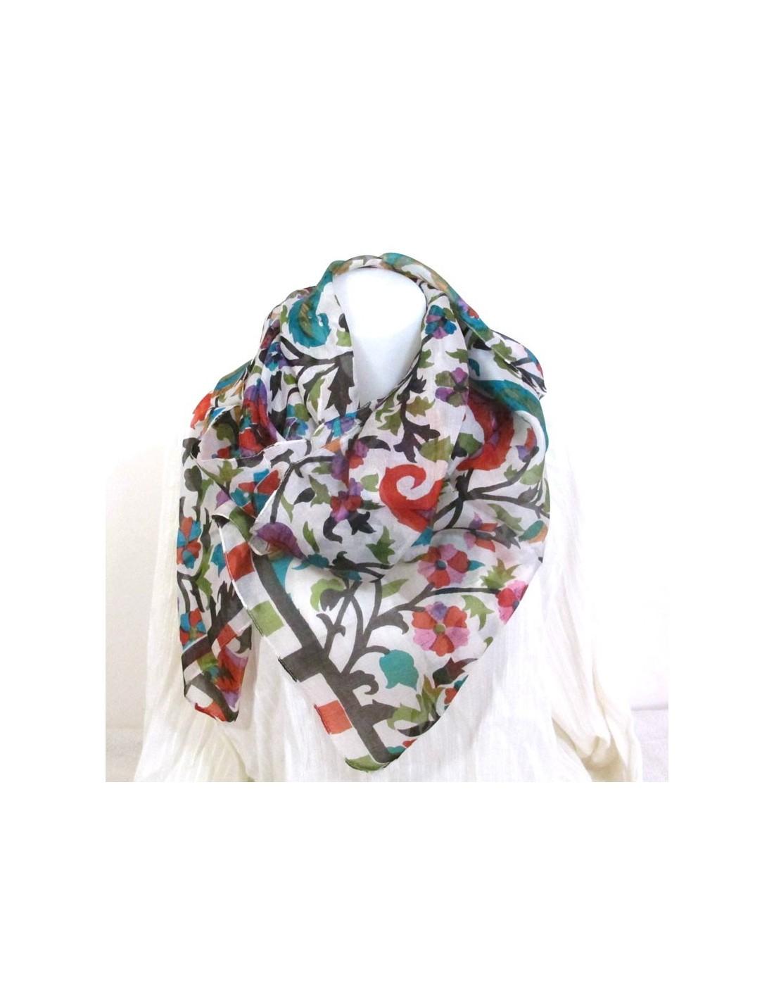 foualrd soie fleurs foulard pour cheveux fs101. Black Bedroom Furniture Sets. Home Design Ideas