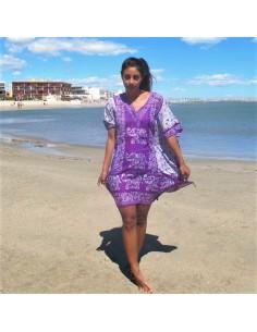 Tunique violette motifs éléphants