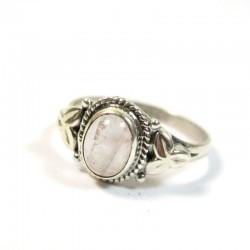 Bgaue argent et quartz rose T56